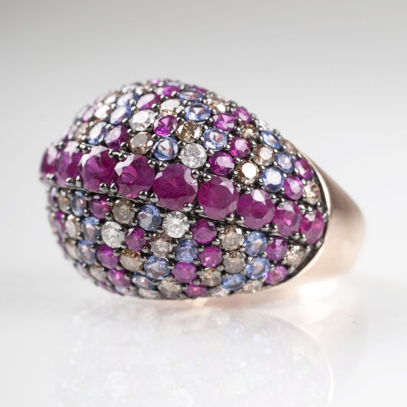 A fine precious stone ring with rubies, tanzanite and diamonds