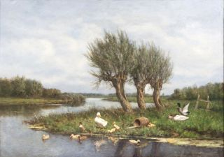 Extensive Landscape with Family of Ducks