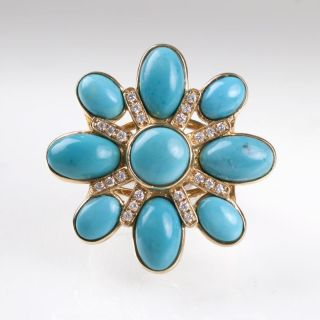 A cocktail ring with turquoise and diamonds