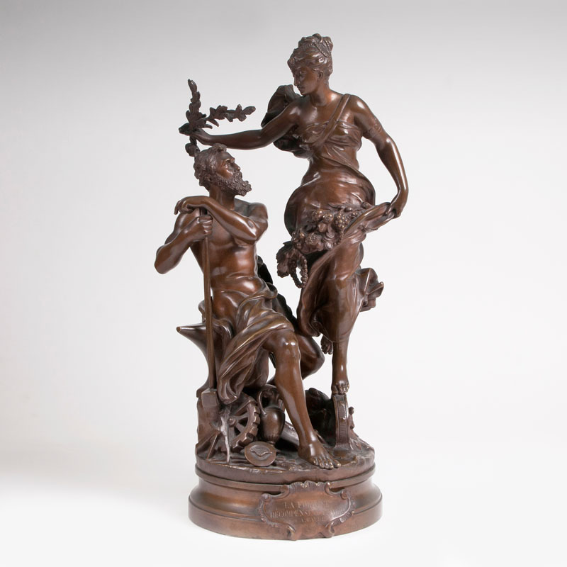 Große Bronze-Figurengruppe 'La Fortune récompense le Travail'