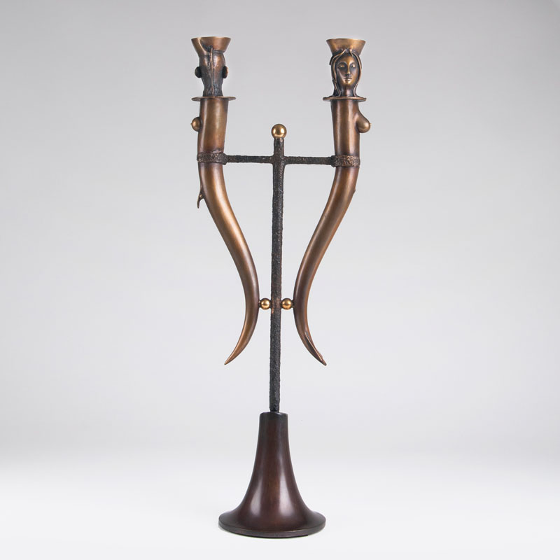 A tall double candlestick