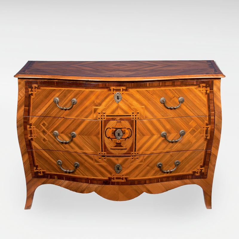 A Transition commode with marquetry decor