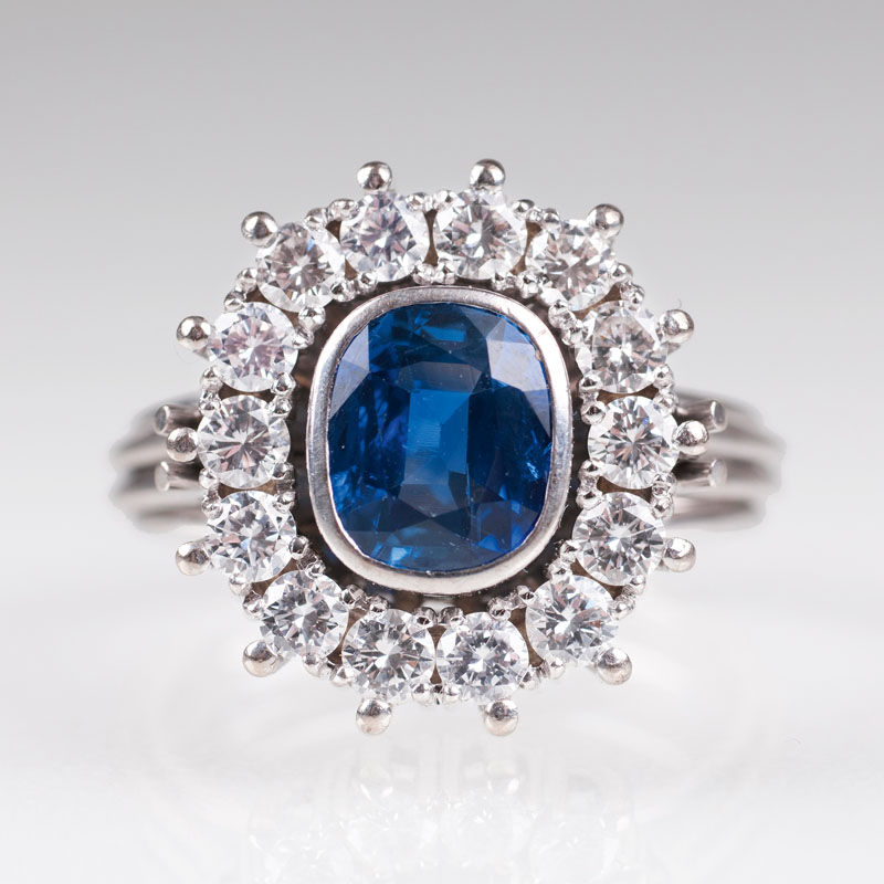 A Vintage diamond ring with natural sapphire