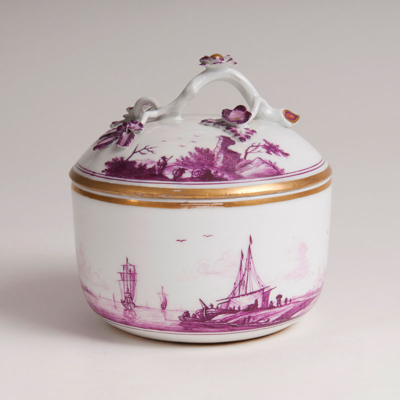 A lidded Box with Landscape Painting in purple monochrome