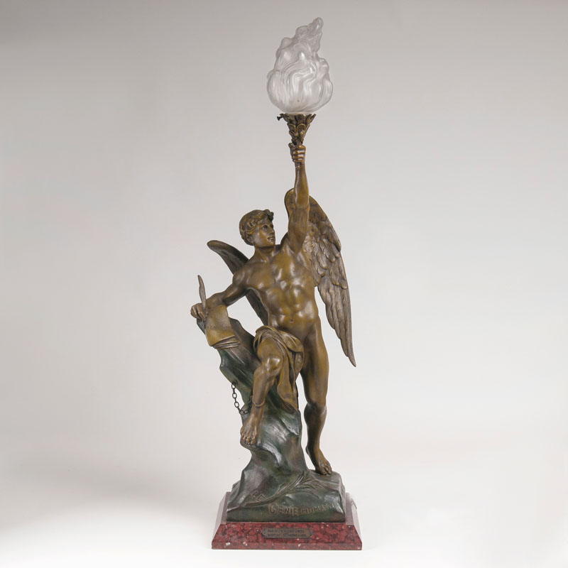 A sculpture 'Winged genius' as table lamp