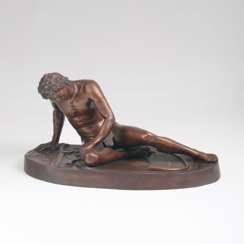 A bronze sculpture 'The dying Gallian' after the antique model
