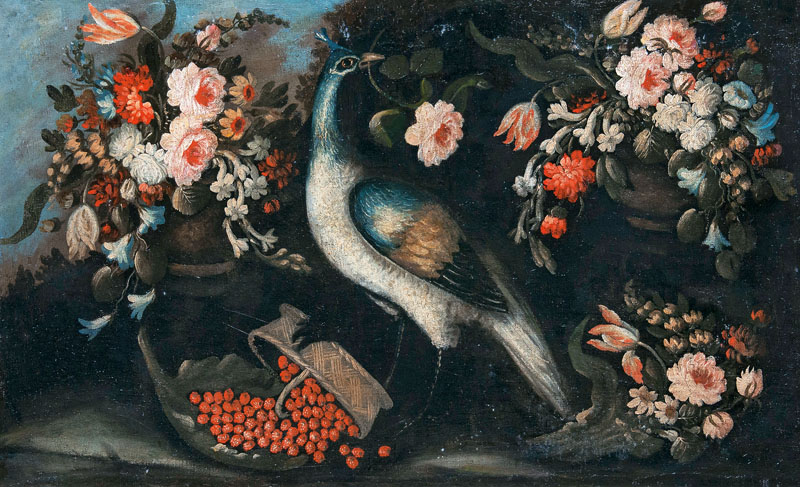 Peacock with Flowers and Fruits