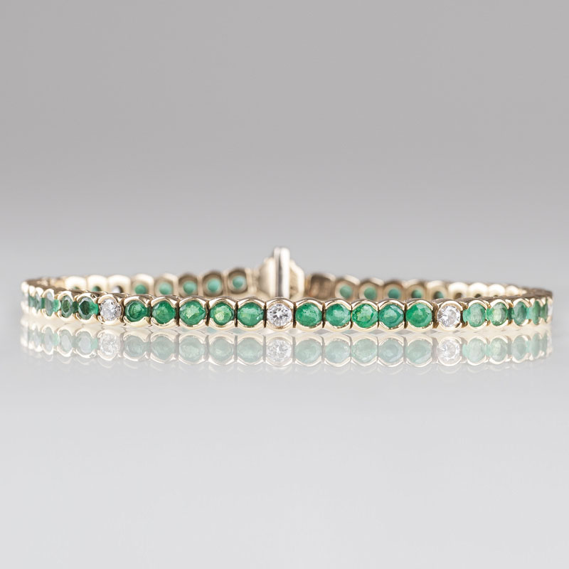 An emerald diamond bracelet by Wempe