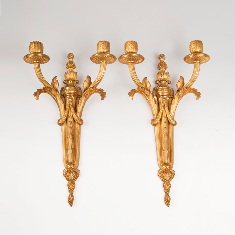 A pair of bronze wall applications in Louis-XVI-style