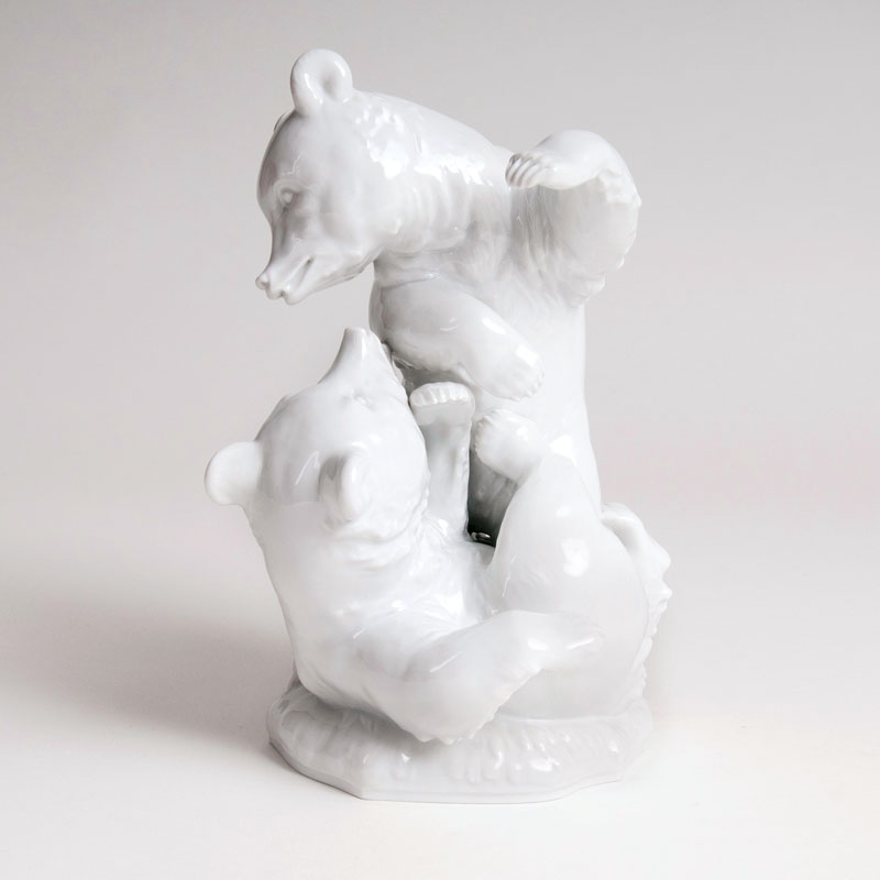 A porcelain figure 'Young bears, playing'