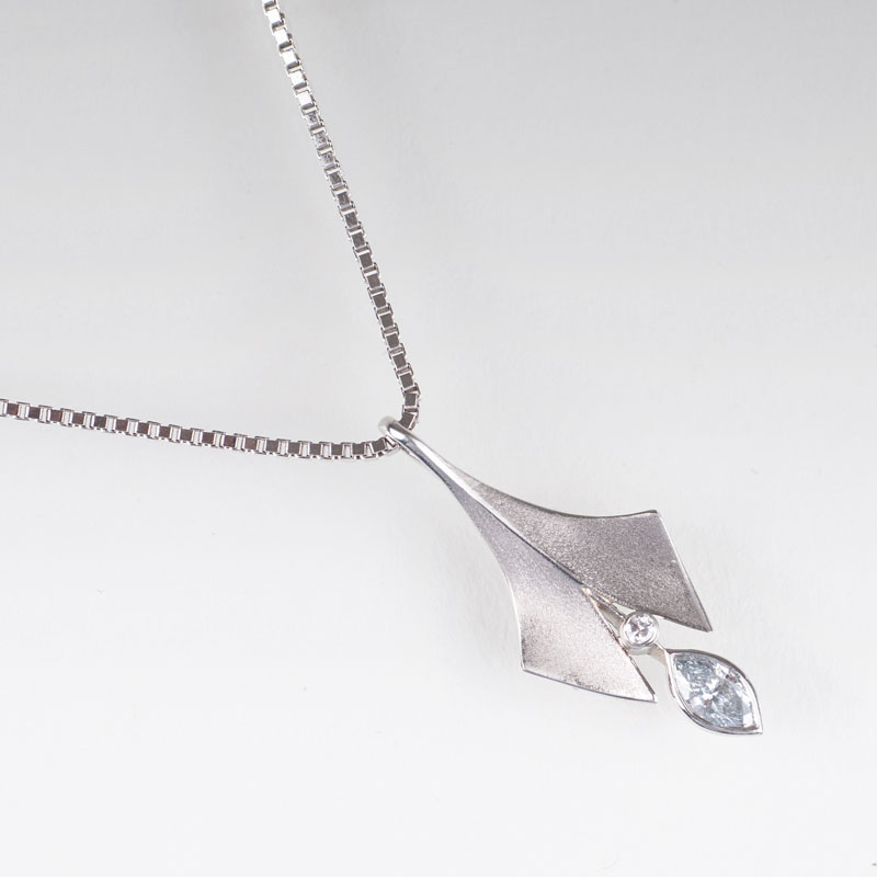 A platinum diamond pendant with necklace by Ehinger-Schwarz
