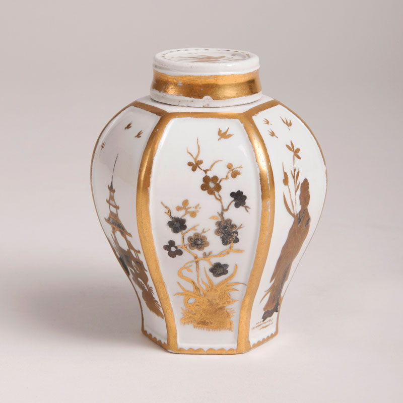 A rare Böttger Tea Caddy with silver and gold painting