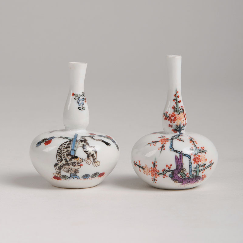 A pair of miniature vases 'Yellow Tiger'