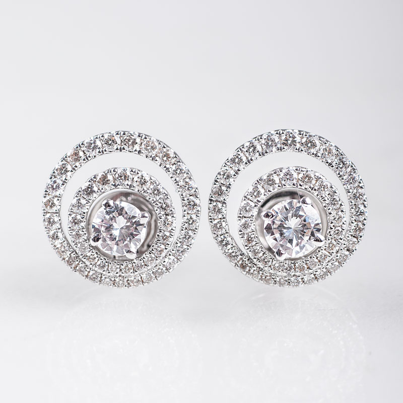 A pair of fine diamond earstuds