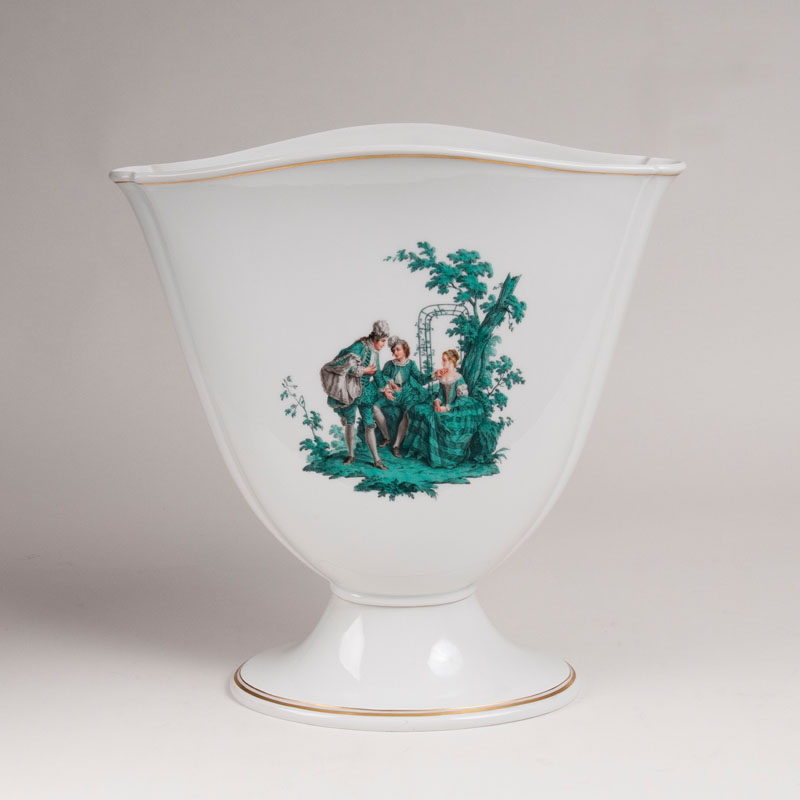 A large tulip-shaped vase with copper green Watteau painting