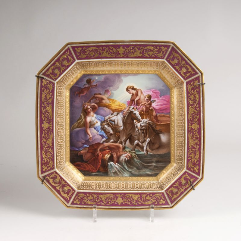 A Vienna Style porcelain plate 'Venus and Apollo'
