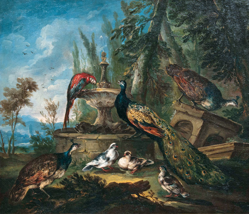 Peafowl, Pigeons, Guinea Fowl and a Macaw by a Well
