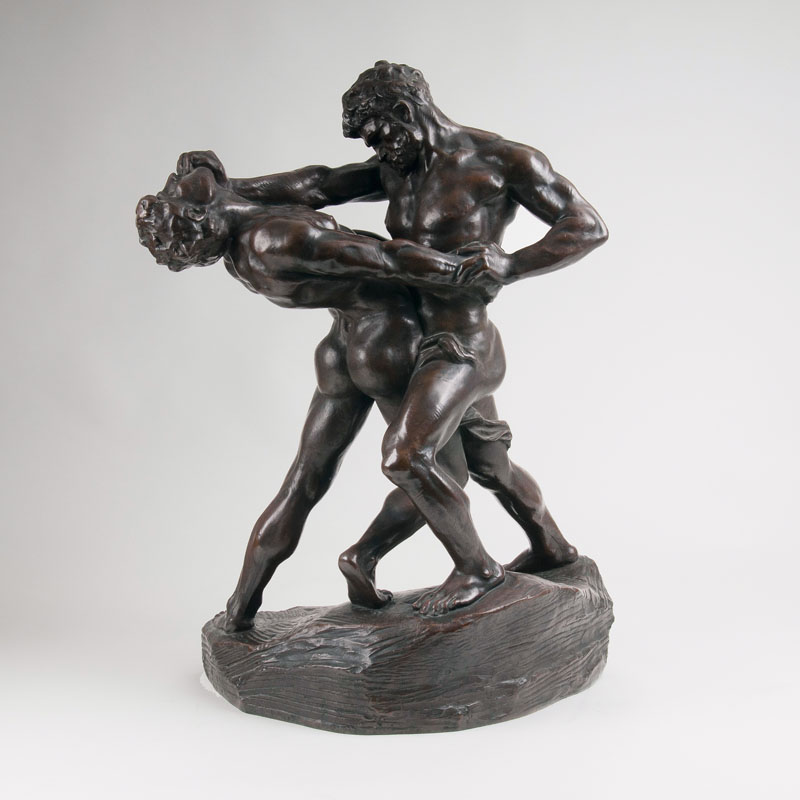 A bronze group 'The Wrestlers'