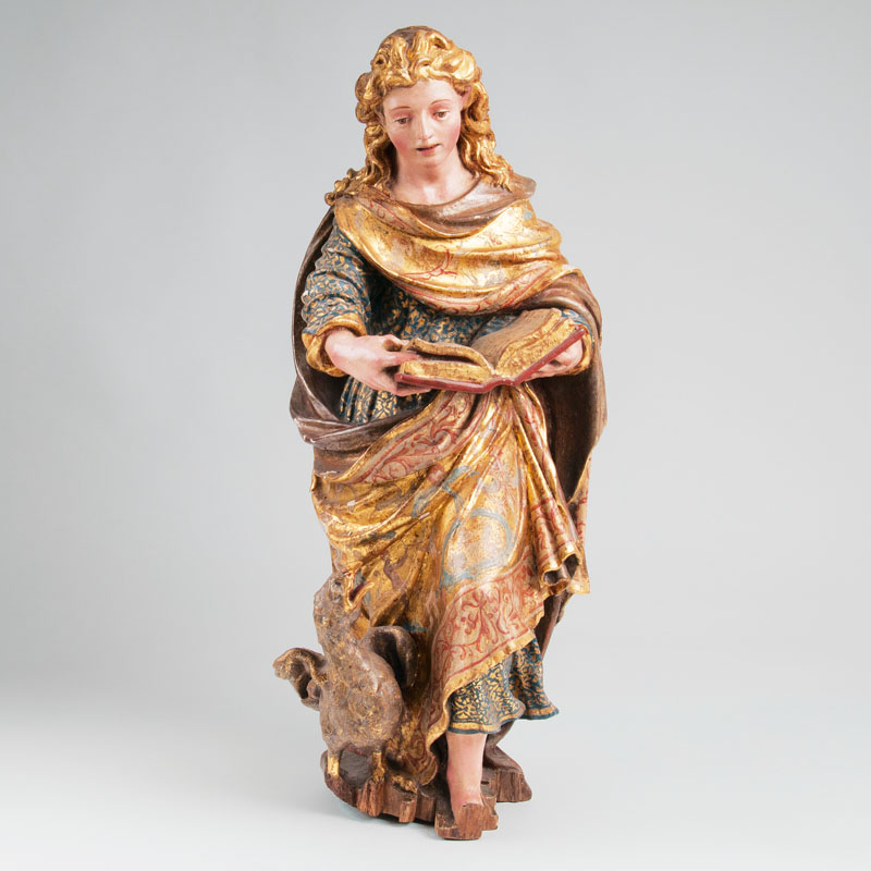 A wooden sculpture 'John the Apostle and Evangelist'
