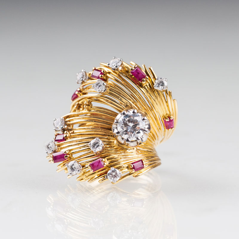 A Vintage ruby diamon ring