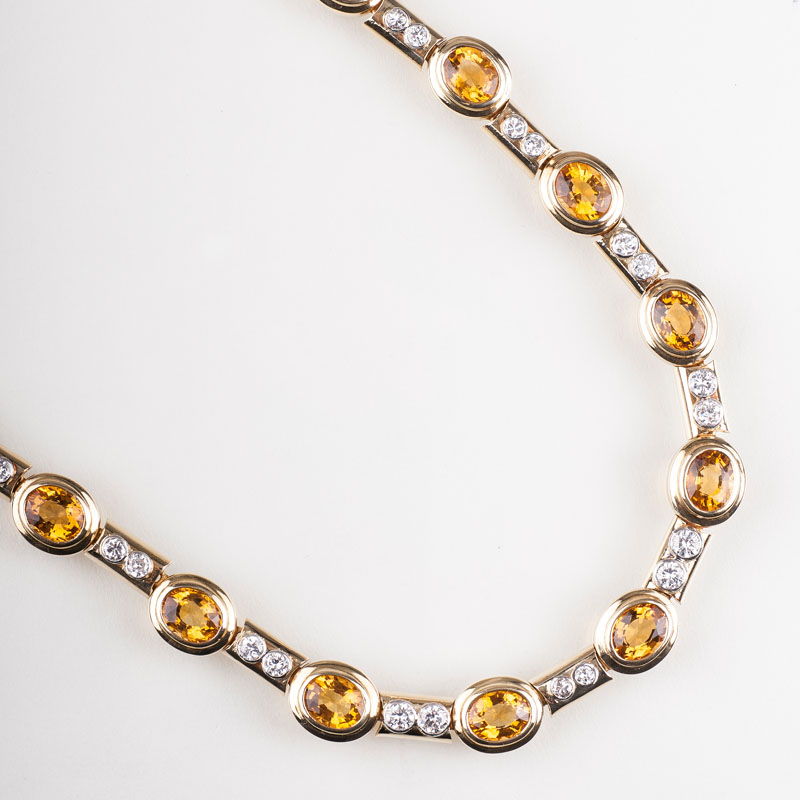 An elegant citrine diamond necklace