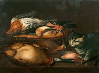 Still Life of Game with Birds and Cat