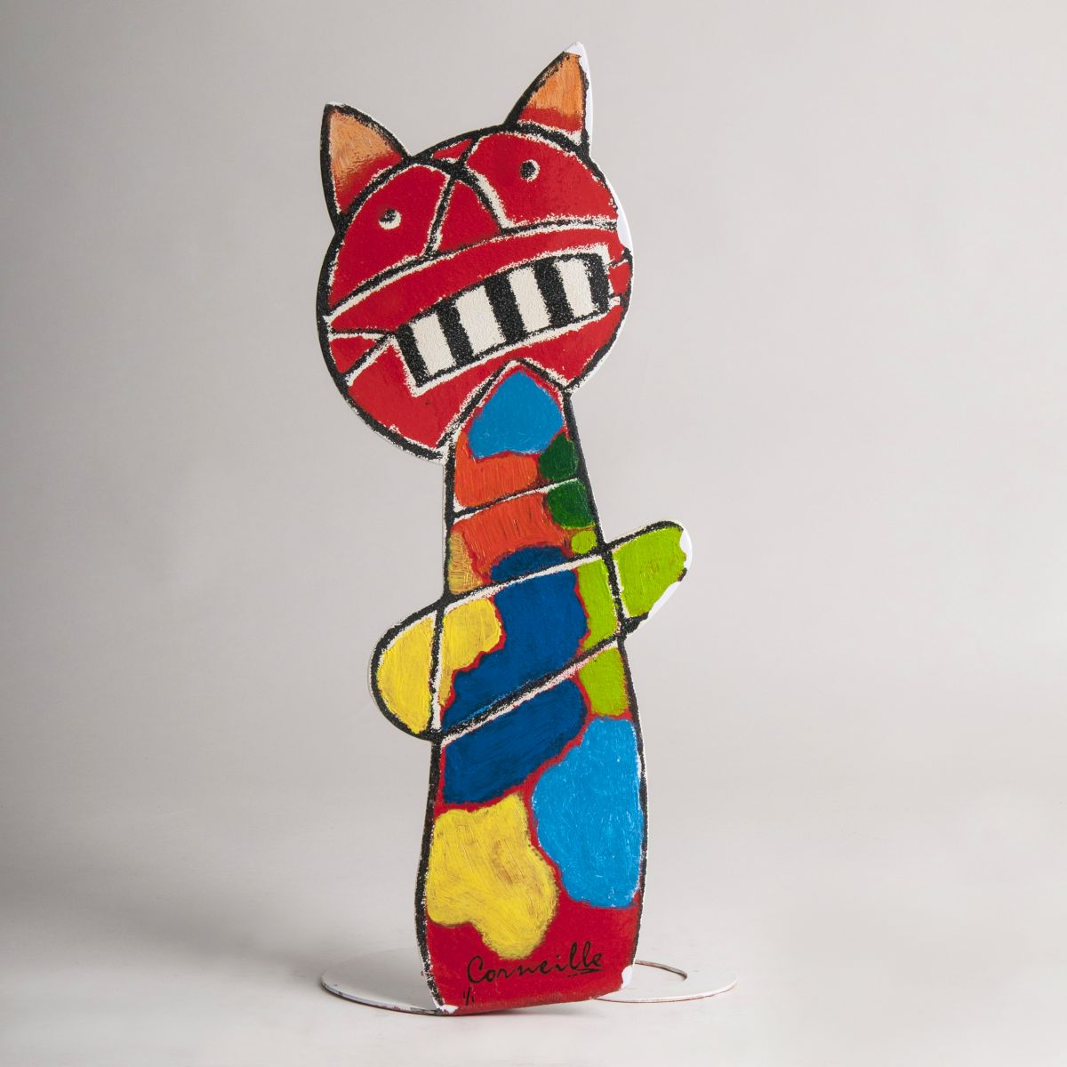 A Metal Sculpture 'Polychrome Cat'