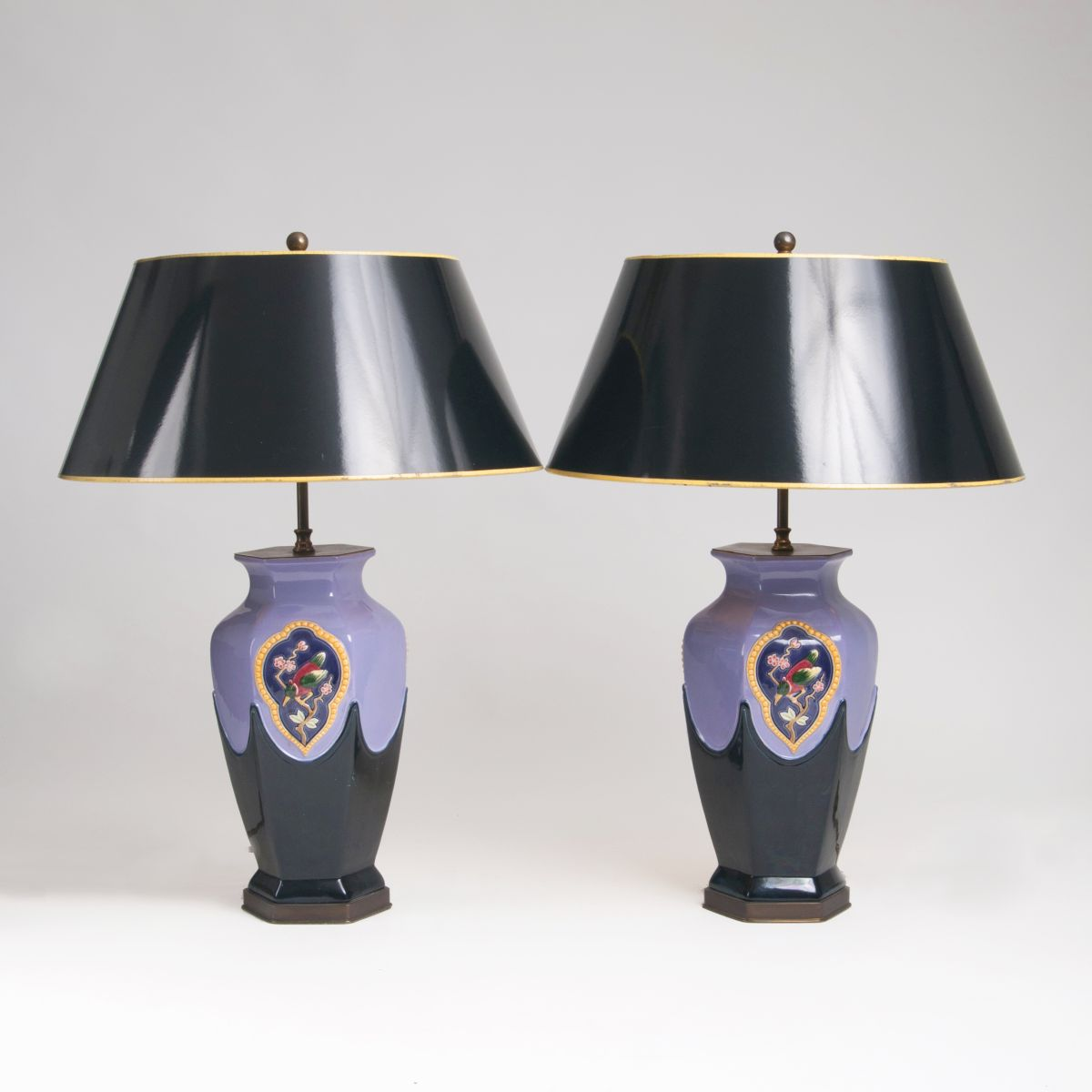 A Pair of Art Deco Majolica Table Lamps
