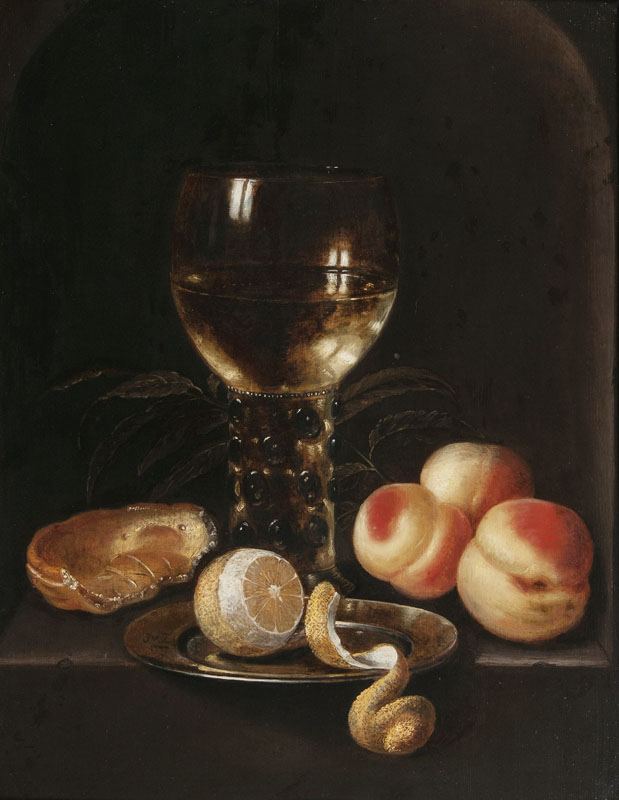 Still-Life with Roemer, Peaches and Lemon