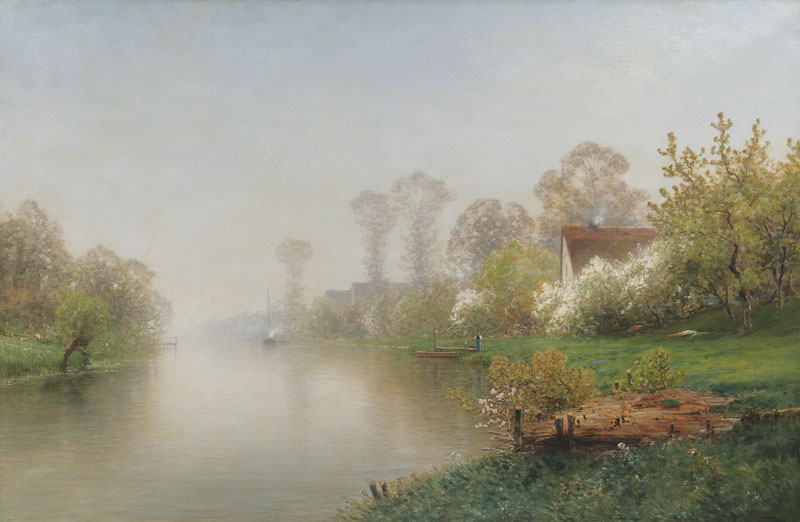Blossoming Trees at River Lühe