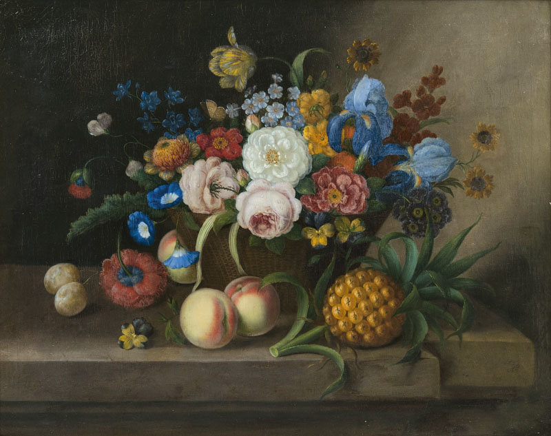Still Life with Basket of Flowers, Pineapple and Peaches