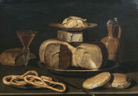 Still Life with Cheese, Jar, Pretzels, Bread and Wine