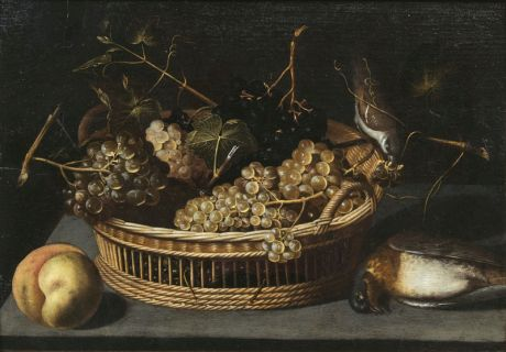 Still Life with Grapes, Peach and Birds