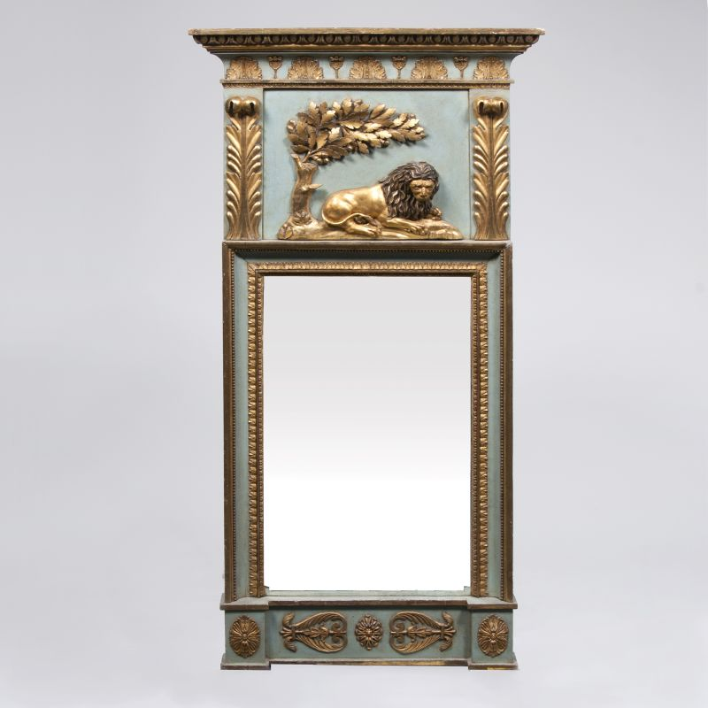 A Gustavian Trumeau Mirror with Lion