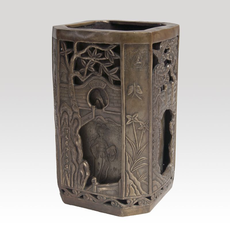 A Double-walled Bronze Vase with Delicate Relief Decor