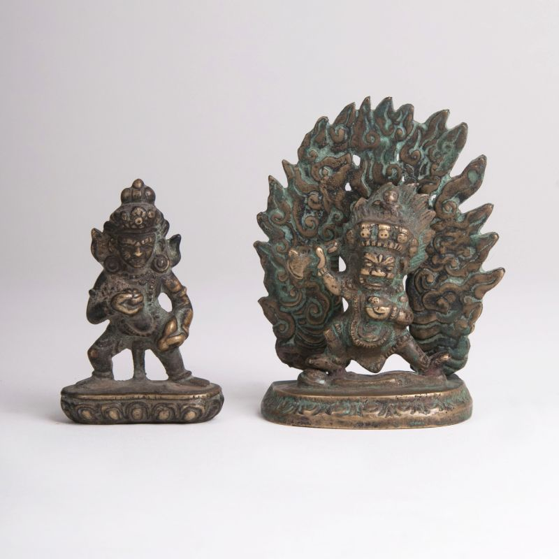 A Pair of Bronze Sculptures 'Black Jambhala and Bernagchen Mahakala'