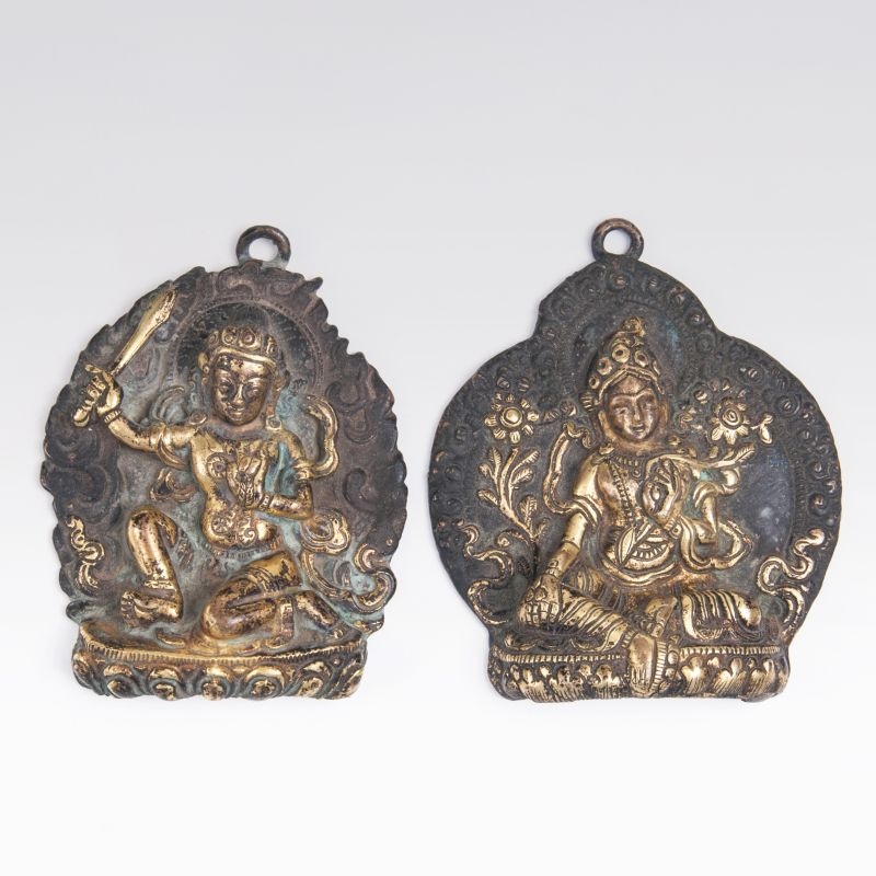 A Pair of Bronze Reliefs 'Syama Tara and Achala'