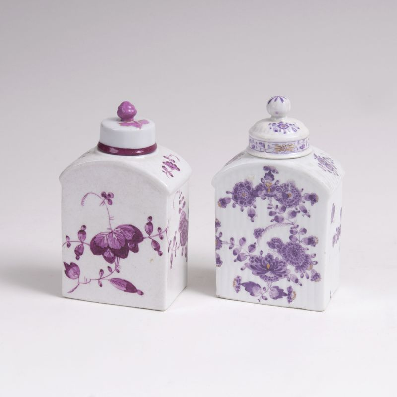 A Pair of Tea Caddies with Purple Flowers