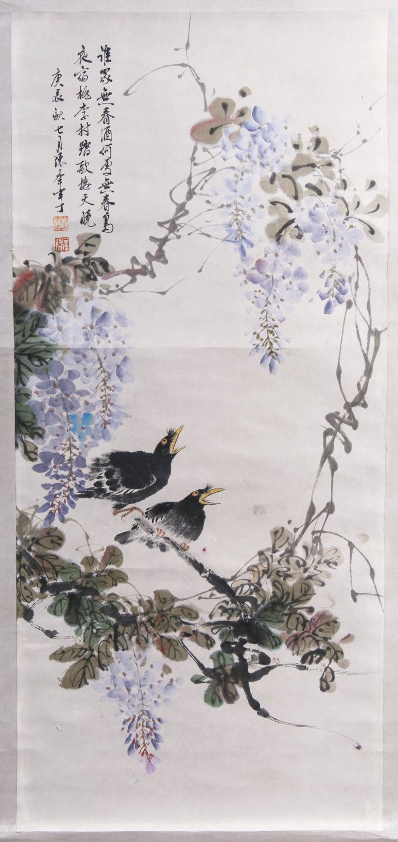 Hanging Scroll 'birds under wisteria'