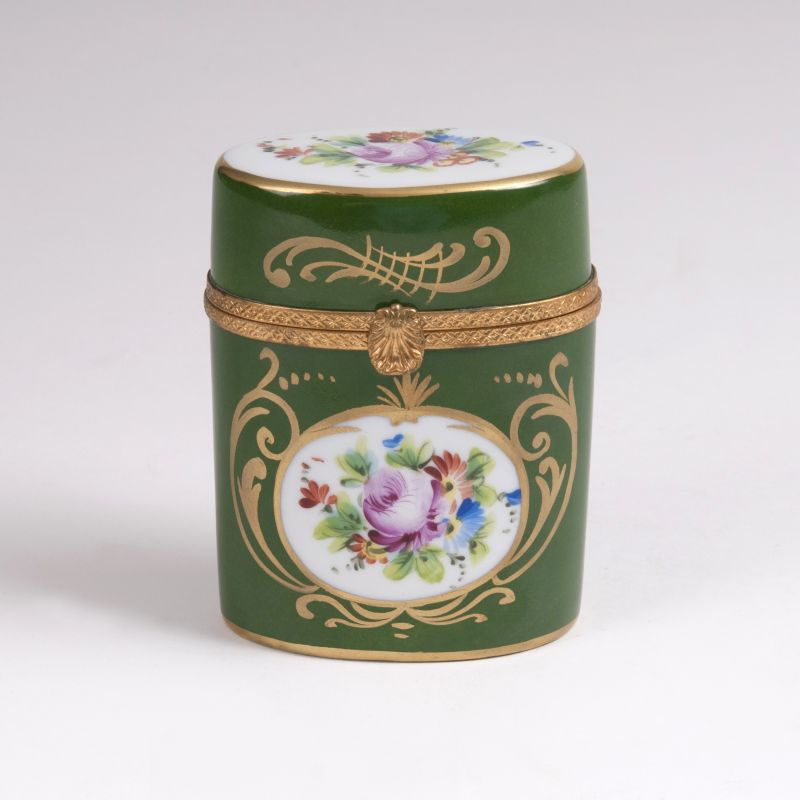 A Limoges Box with Flowers and Gold Decor