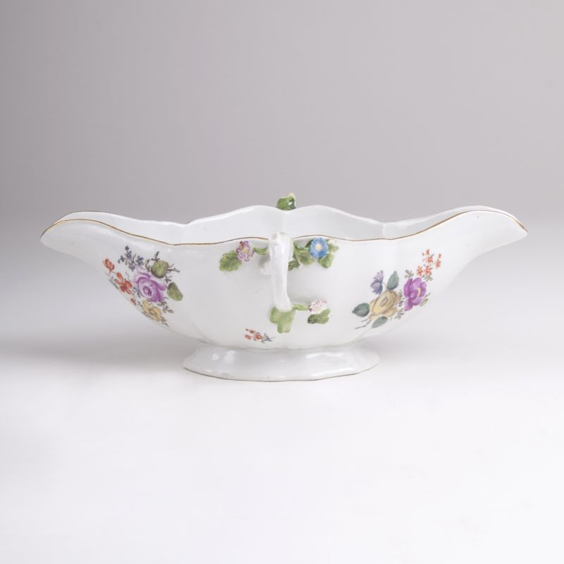 A Small Sauce Boat with Flower Painting
