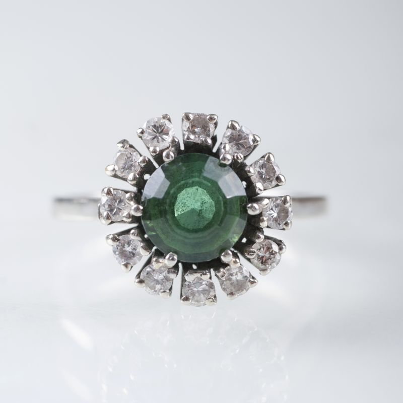 A tourmaline diamond ring