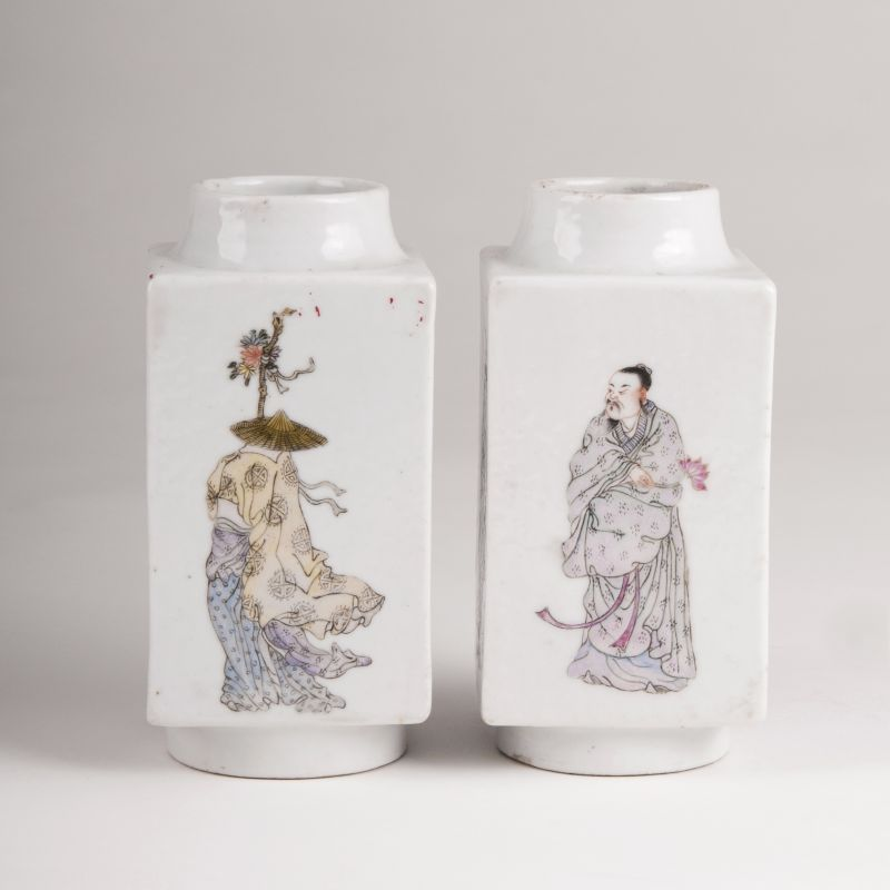 A Pair of Miniature Vases with Immortals