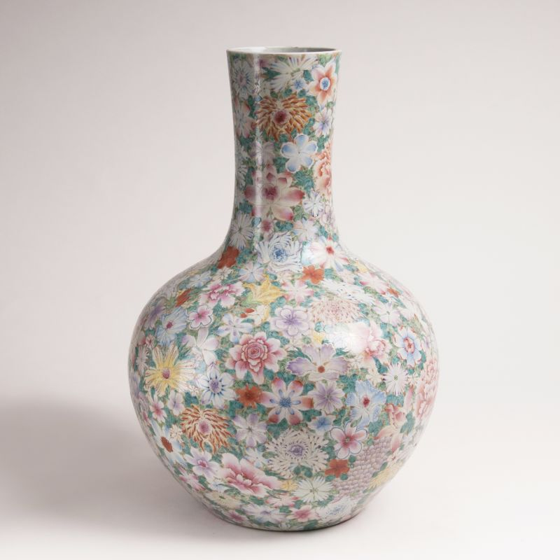 A Large Narrow Neck Vase with Millefleurs Decor