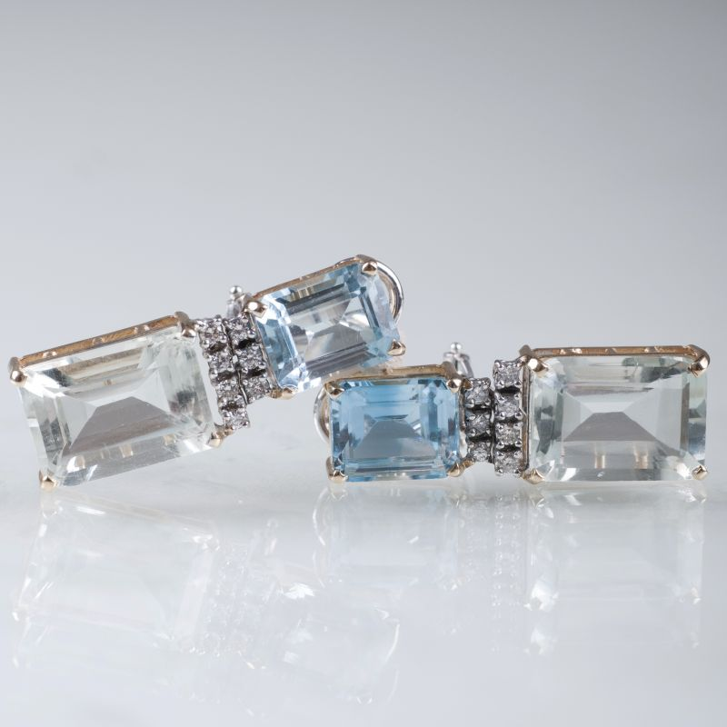 A pair of prasiolith topaz earrings