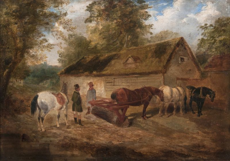 Team of Horses with Roller