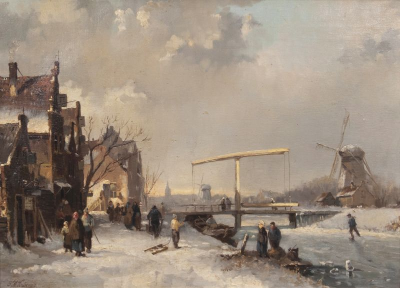 Winter Landscape with Frozen Canal