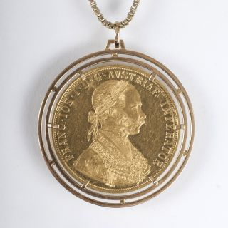 A four-ducats-gold coin with portrait of Emperor Franz I and necklace