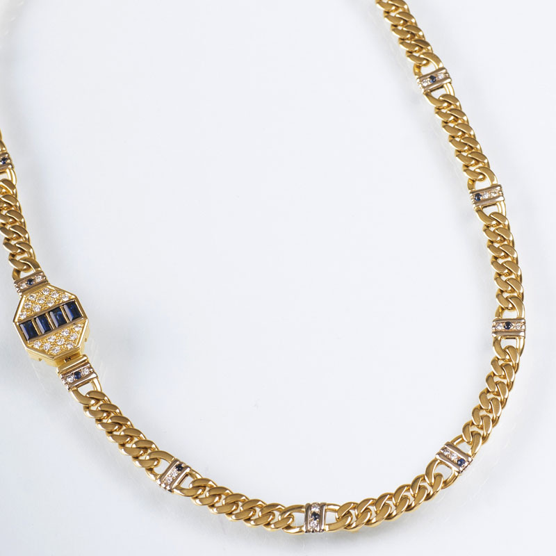 A Vintage gold necklace with sapphires and diamonds