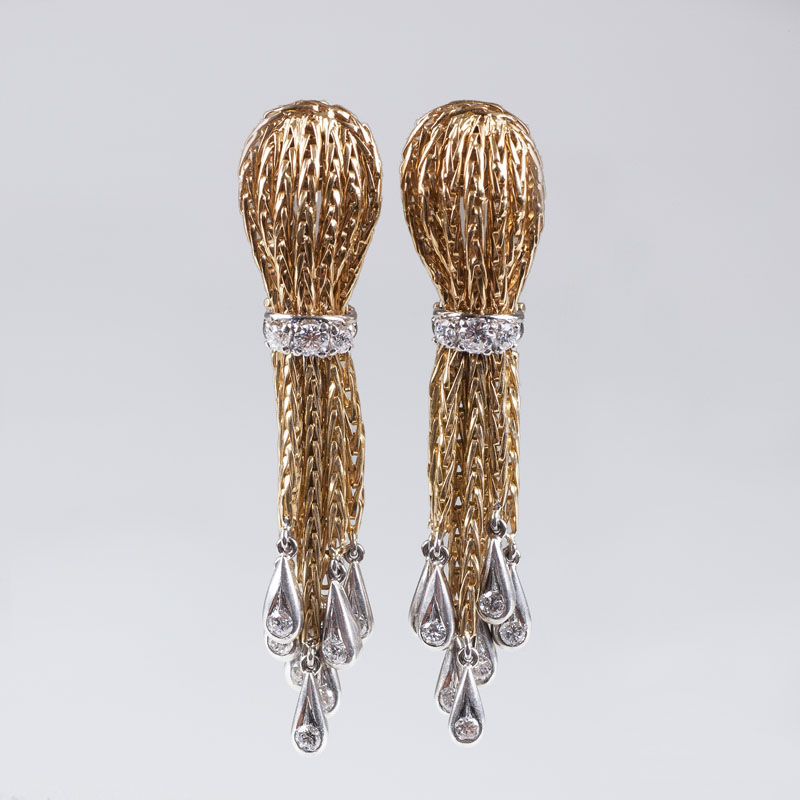 A pair of Vintage diamond earclips